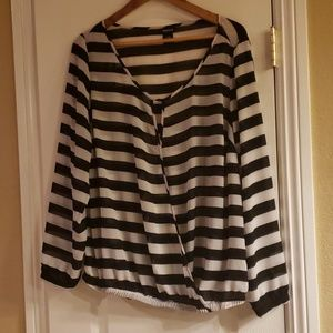 Torrid Sheer Black & White Striped Top